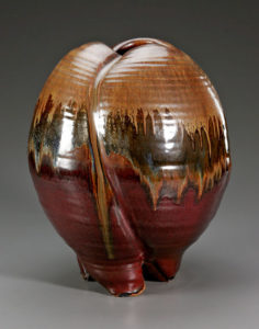 Iron Red Paddled Vase